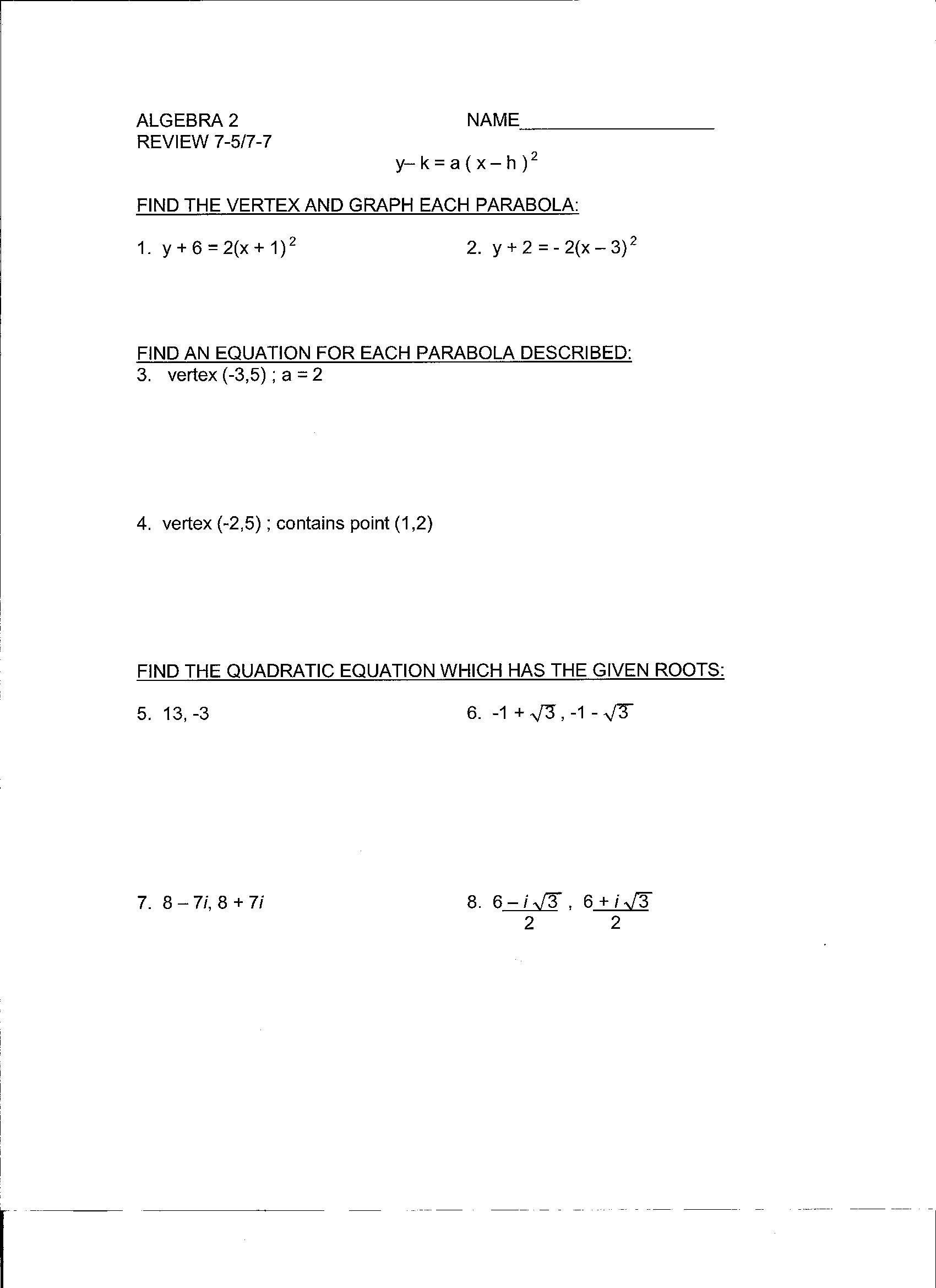 Beunier-Smith, Yvette / Algebra 2A Documents Chapters 5-10